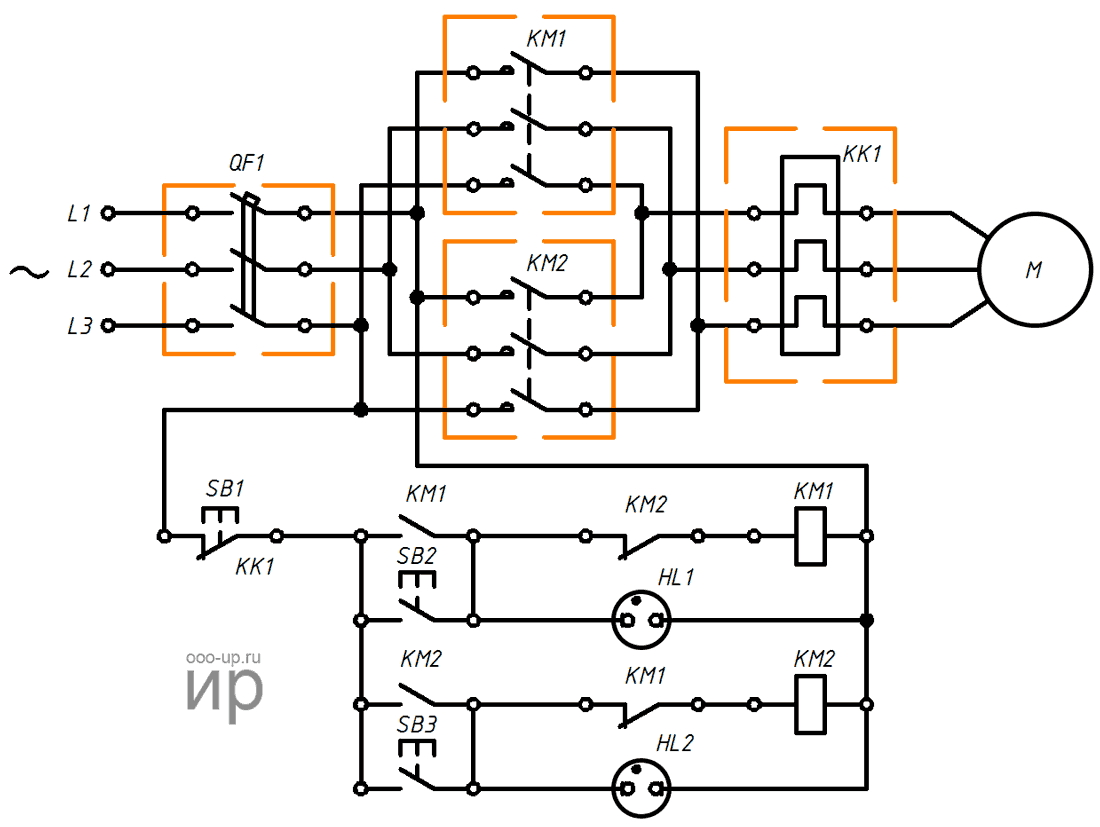 Reversing connection a three-phase induction motor to a three-phase AC power grid through a magnetic contactors