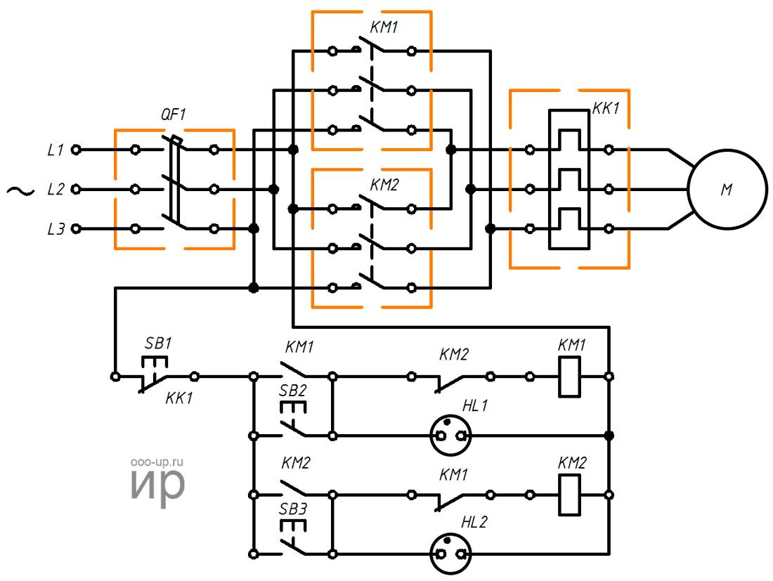 Реверсивная схема подключения трехфазного асинхронного двигателя через магнитные пускатели