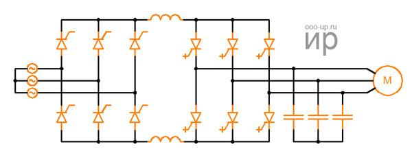 Схема инвертора тока с выпрямителем