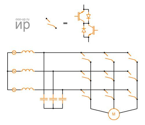 Схема прямого матричного преобразователя