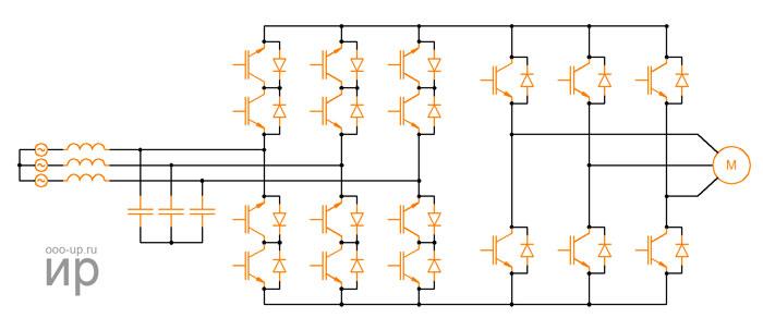 Схема непрямого матричного преобразователя