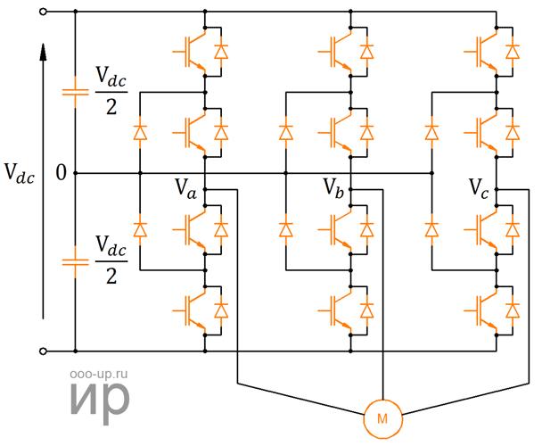 Схема трехуровневого преобразователя с фиксированной нейтральной точкой