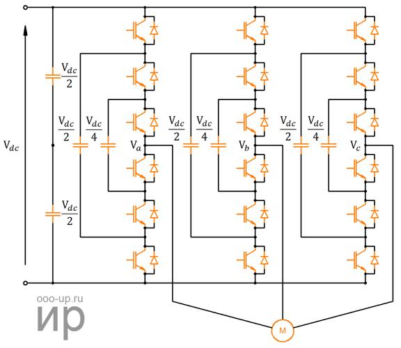 Схема преобразователя с плавающими конденсаторами