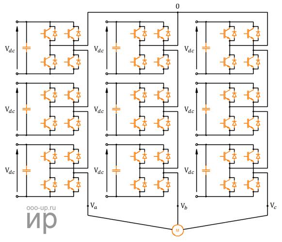 Схема каскадного преобразователя